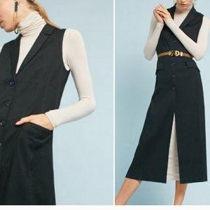 Anthro's Cartonnier longline linen black vest